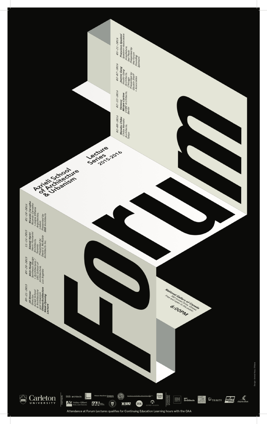 """Forum"" lecture series. Poster courtesy of Azrieli School of Architecture & Urbanism, Carleton University."