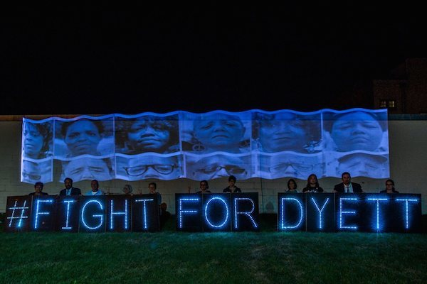Overpass Light Brigade and Milwaukee Teacher's Education Association stage an action in solidarity with Dyett Image: via Teachers for Social Justice