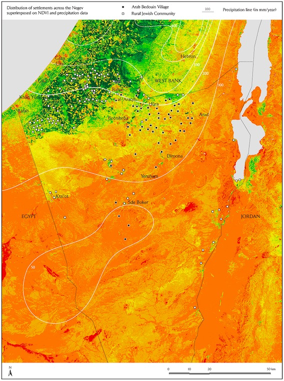 AGRARIAN SETTLEMENTS AND ANNUAL PRECIPITATION MARKERS ON TOP OF AN NDVI MAP, Prepared by Jamon Van Den Hoek, Francesco Sebregondi/Forensic
