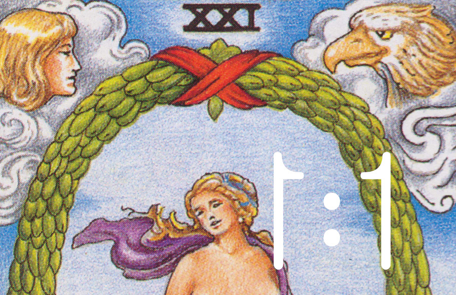 "Featured tarot card: ""The World"" from a Rider Waite Smith deck."