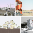 Renderings by Pratt Institute graduate architecture students, clockwise from upper left: Mixed-use business and cultural district by Jeffrey Autore; dynamic landscapes and event spaces, including towers and a solar airplane by Joselia Mendiolea; &quot;transit materials lab&quot; interactive facility by Masha Pekurovsky; housing which blurs boundaries between indoors and outdoors by Hsing-Chung (Mike) Su.