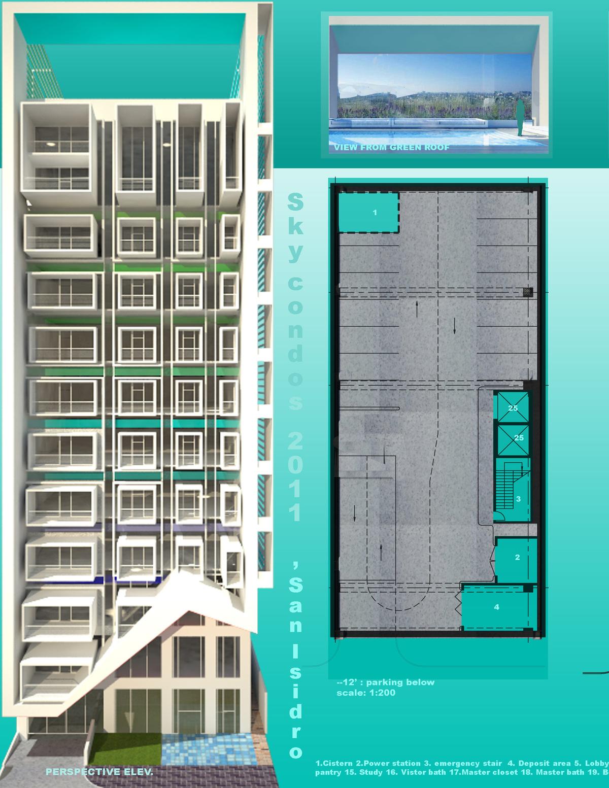 perspective elev., basement plan