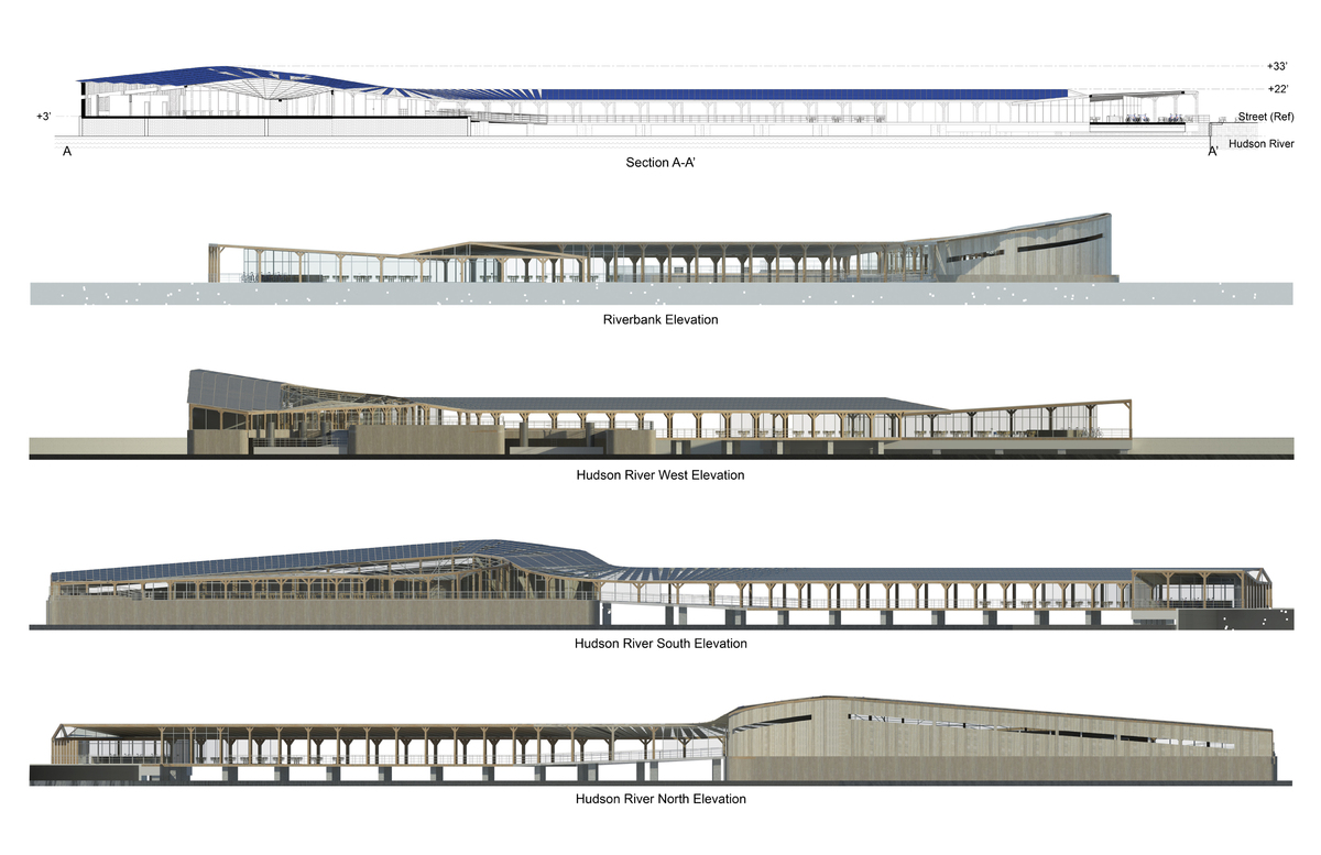 Harlem Piers Farm proposal section and elevations.