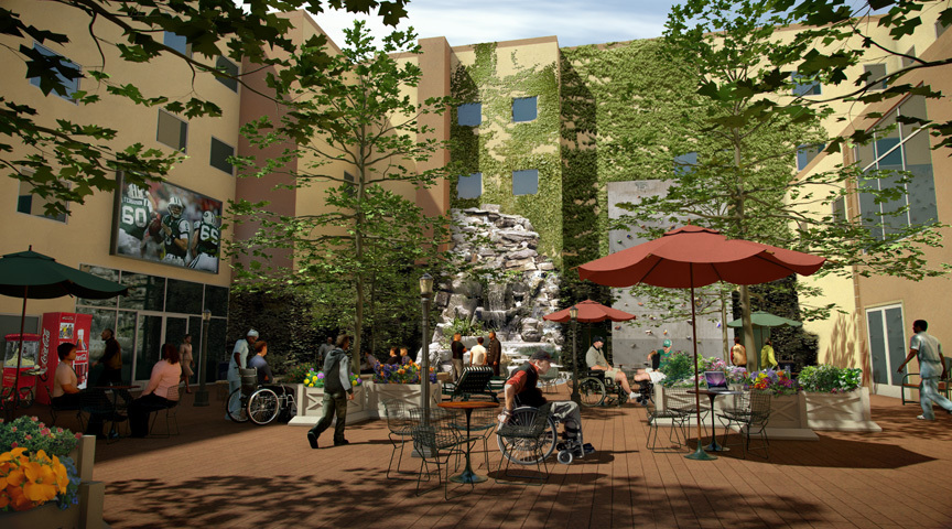 interior hospital courtyard