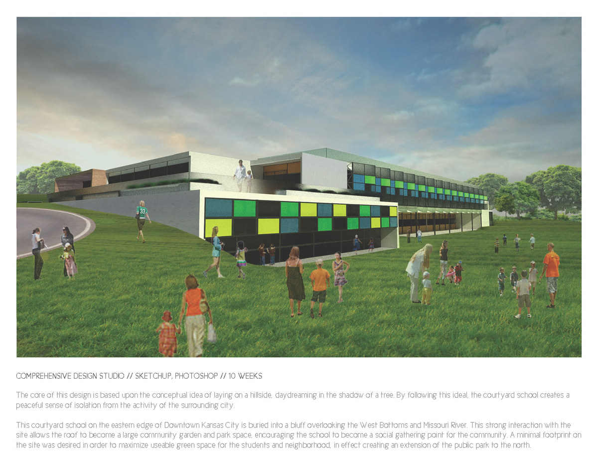 The northwestern corner of the school, showing the interaction with the sloped site and the colored facade systems.