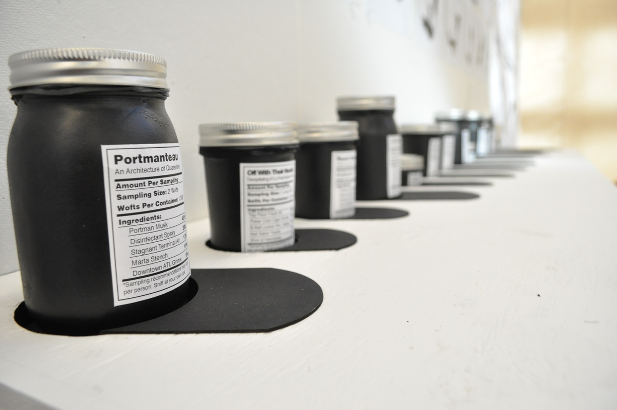 Smell Jars containing the scent of Atlantas newly defined icons waiting for the jury to take a whiff.