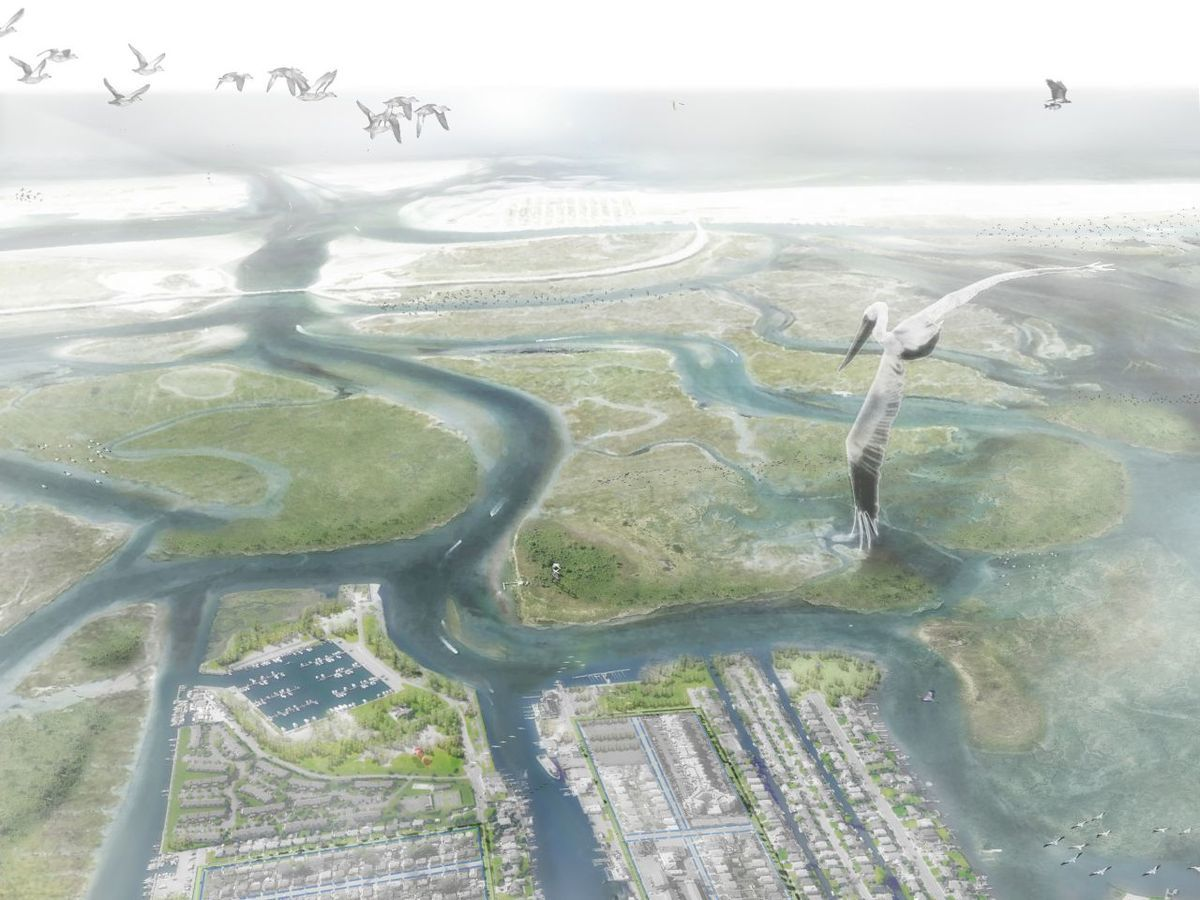 Birdseye view of the Eco Edge, a component of Interboro Partners resiliency plan for Long Island, which won the Rebuild By Design competition. Image credit: Inteboro Partners