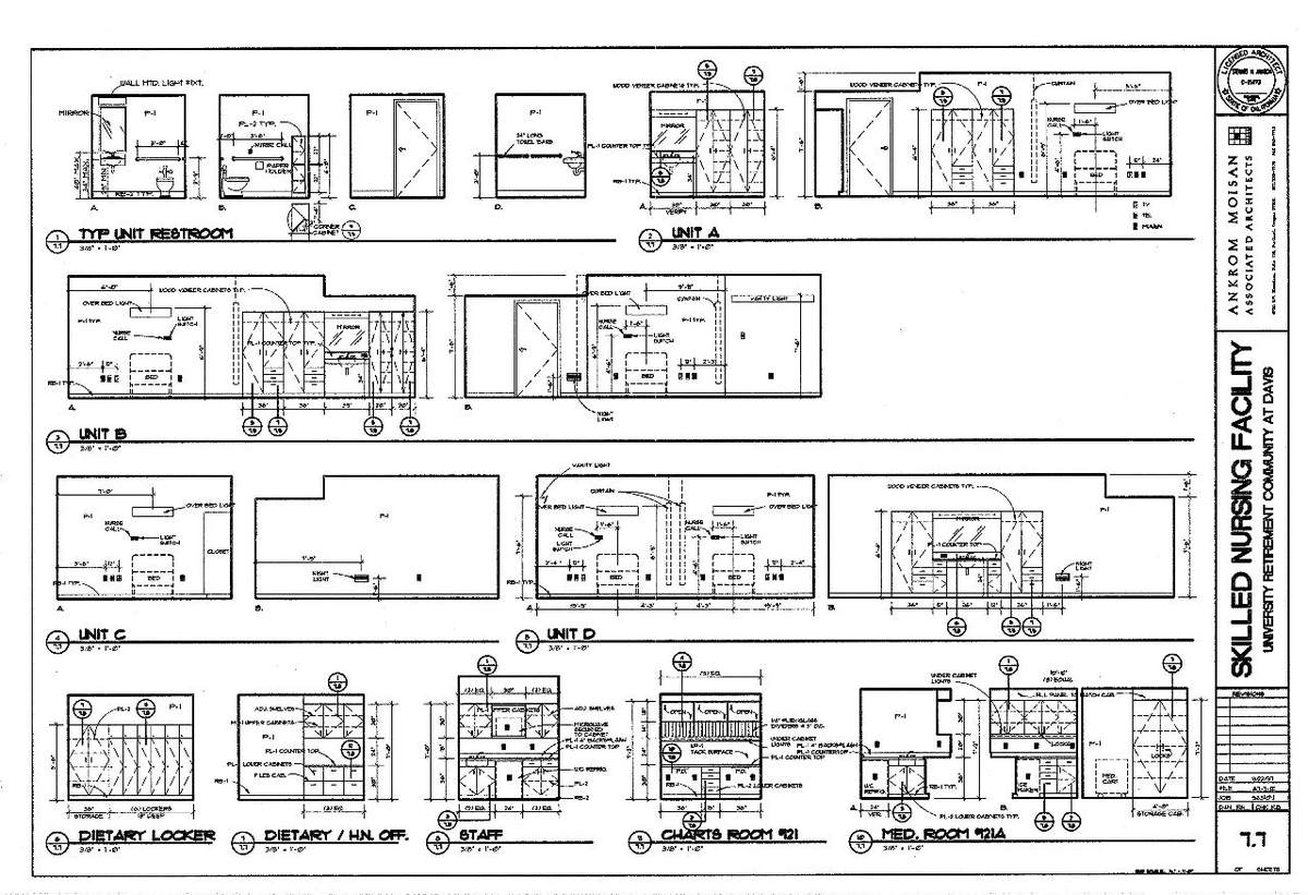 Interior Elevations- Alzheimer's Units, Dietary, Staff, Charts, & Meds Rooms.