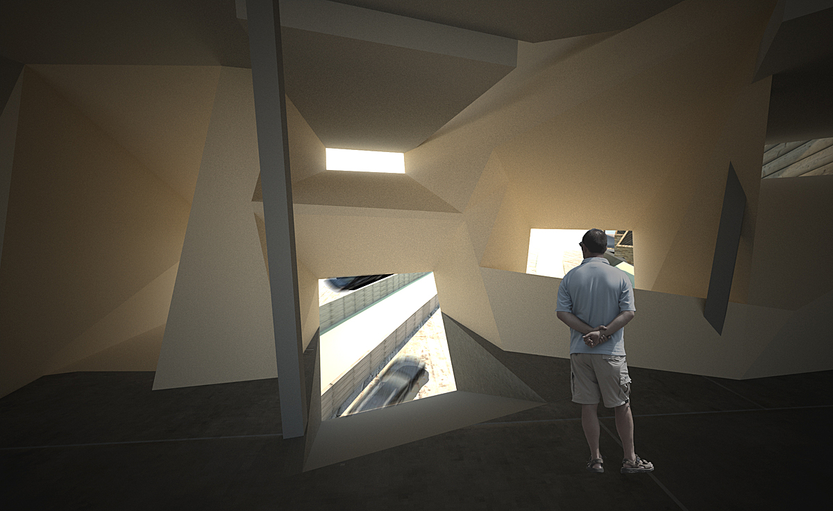 'Protrusion' spaces include the bottom floor in which large directional openings allow for framed moments of the freeway.