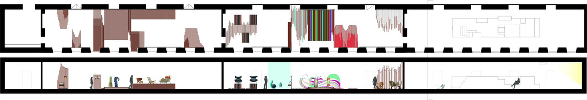 plan and section of the three exhibit spaces, displaying the changes in color and style in accordance to changing furniture styles of the 20th century.