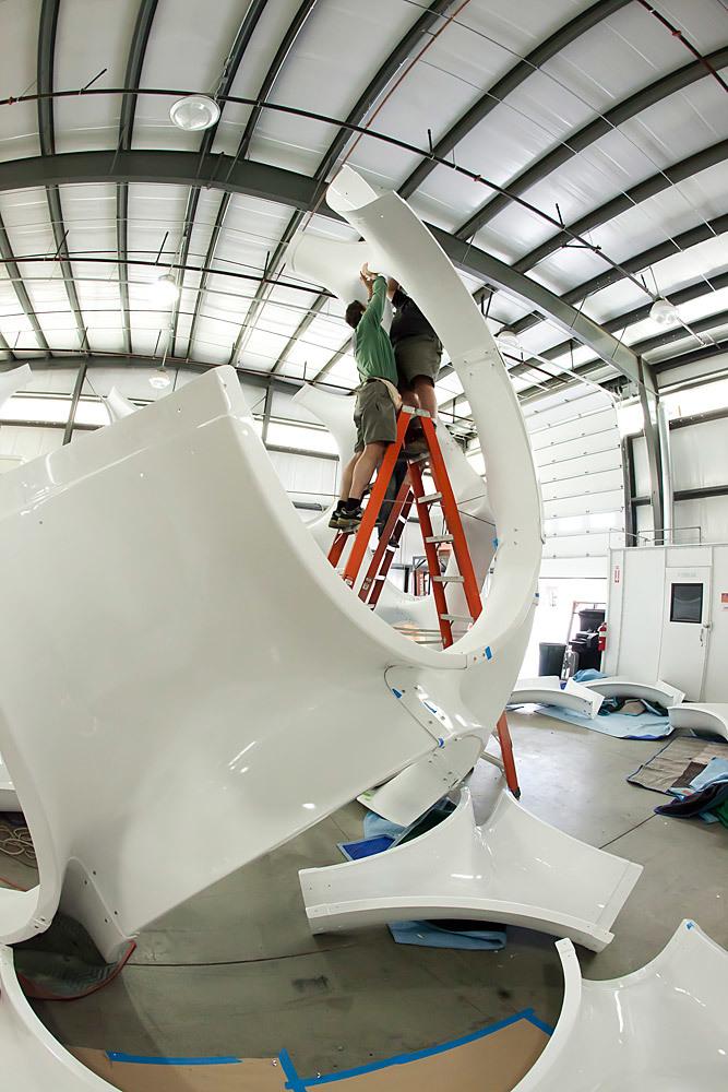 Fly's Eye Dome restoration at Goetz Boats in Bristol, RI (Photo: Ira Garber)