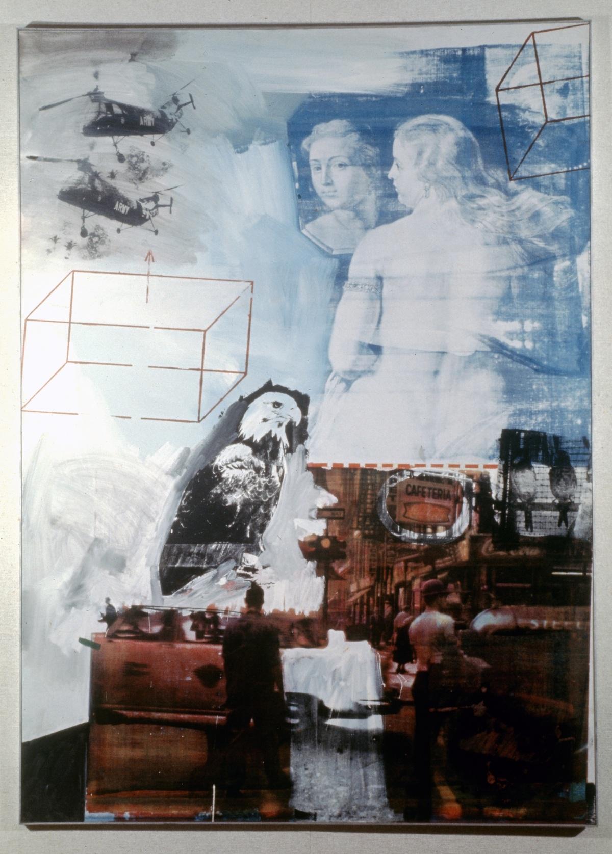 Figure 1. Tracer by Robert Rauschenberg. Oil and silkscreen ink on canvas, 84 1/8 x 60 inches, The Nelson-Atkins Museum of Art, Kansas City, Missouri. Artwork © Robert Rauschenberg Foundation, New York. Image via Fresh Meat.