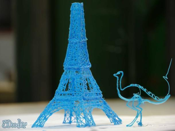 Eiffel tower model, made with the 3Doodler and a stencil. (Credit: WobbleWorks)