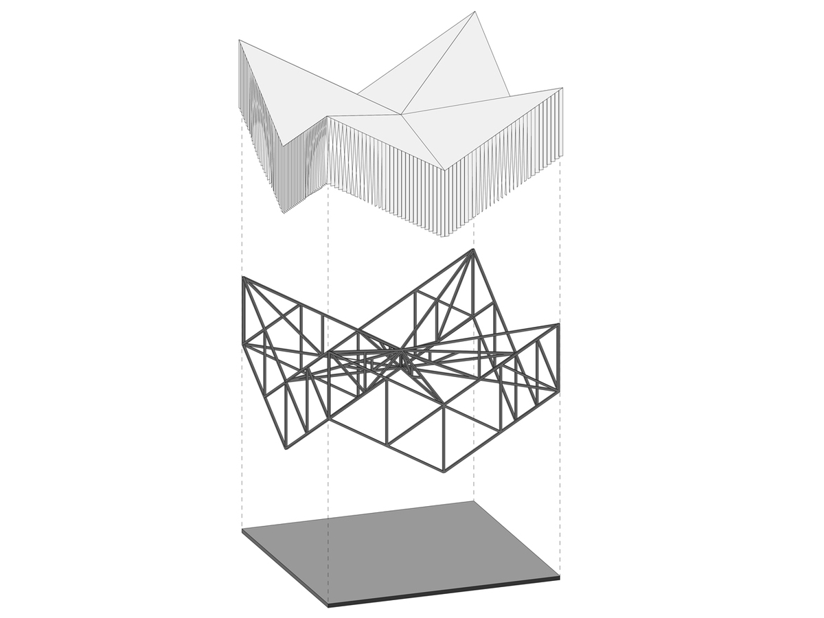 exploded axonometry of the pavilion