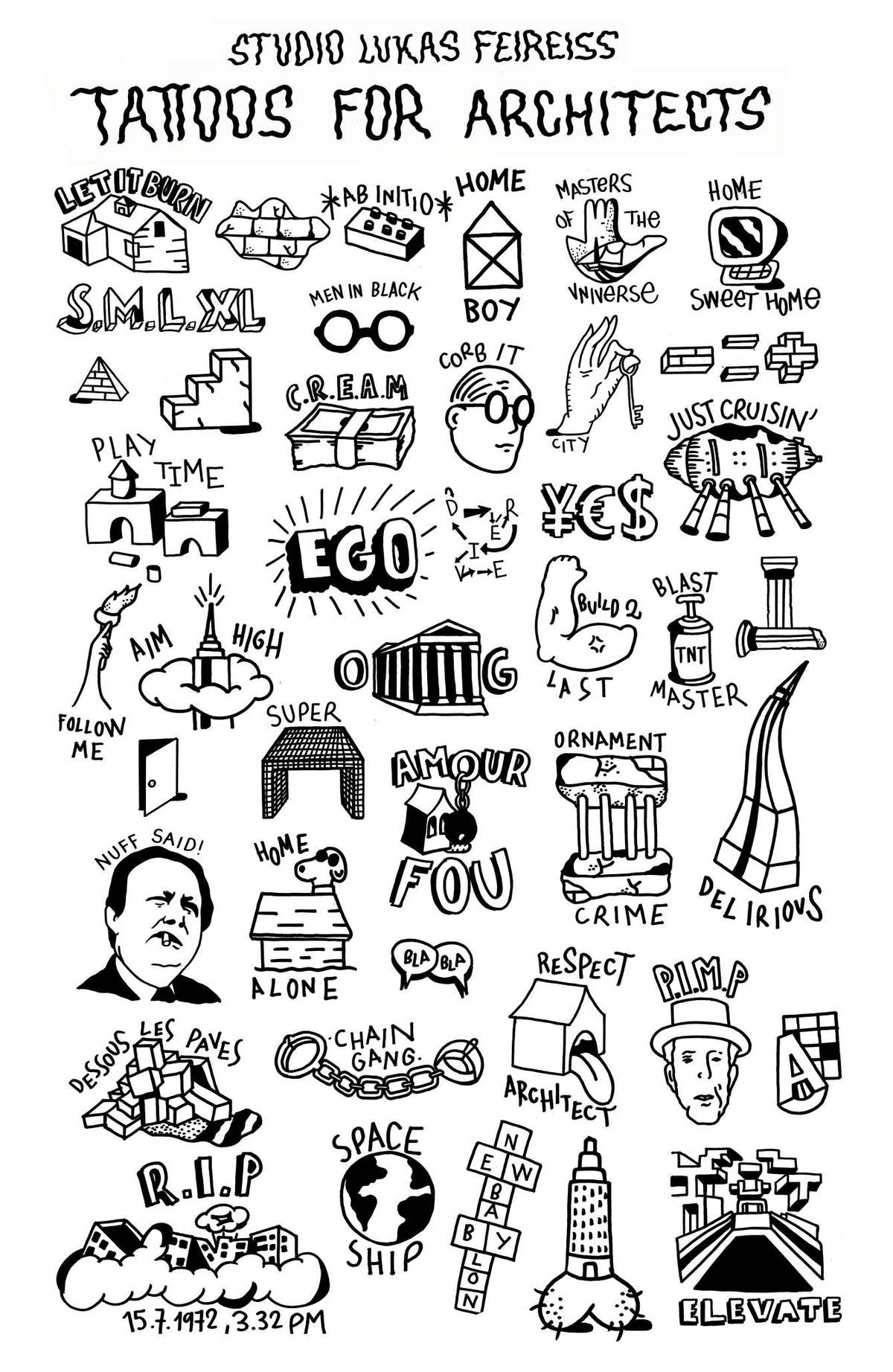 Tattoos for Architects. Image courtesy Lukas Feireiss.