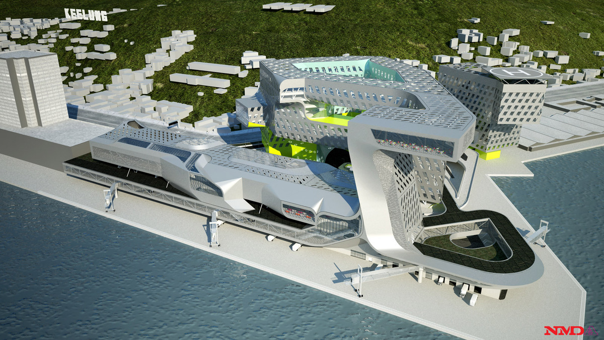 First Prize in the international competition for the New Harbor Service Building in Keelung, Taiwan: aerial view from the Northeast (Image: NMDA)