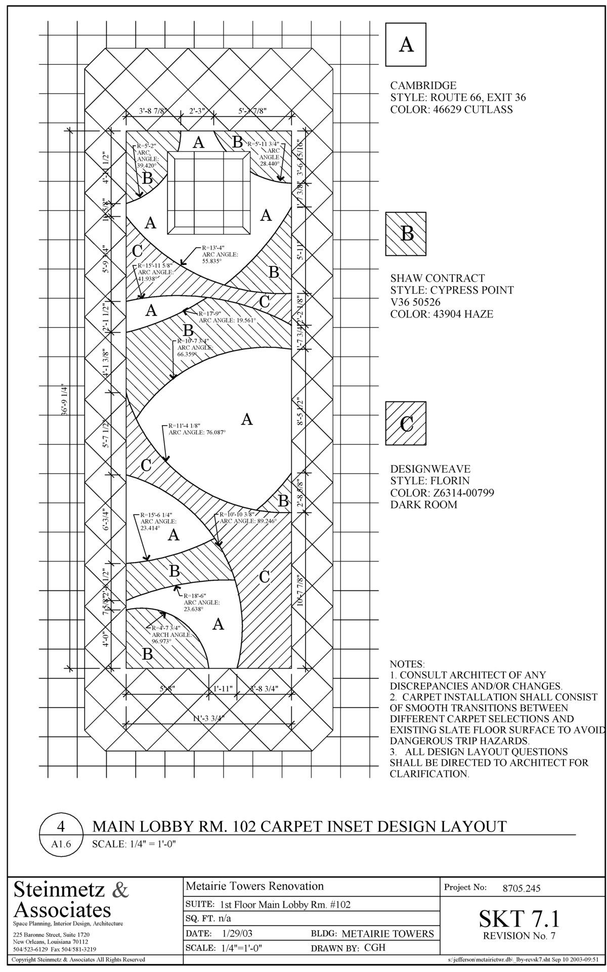 Custom Carpet Inset Design Layout