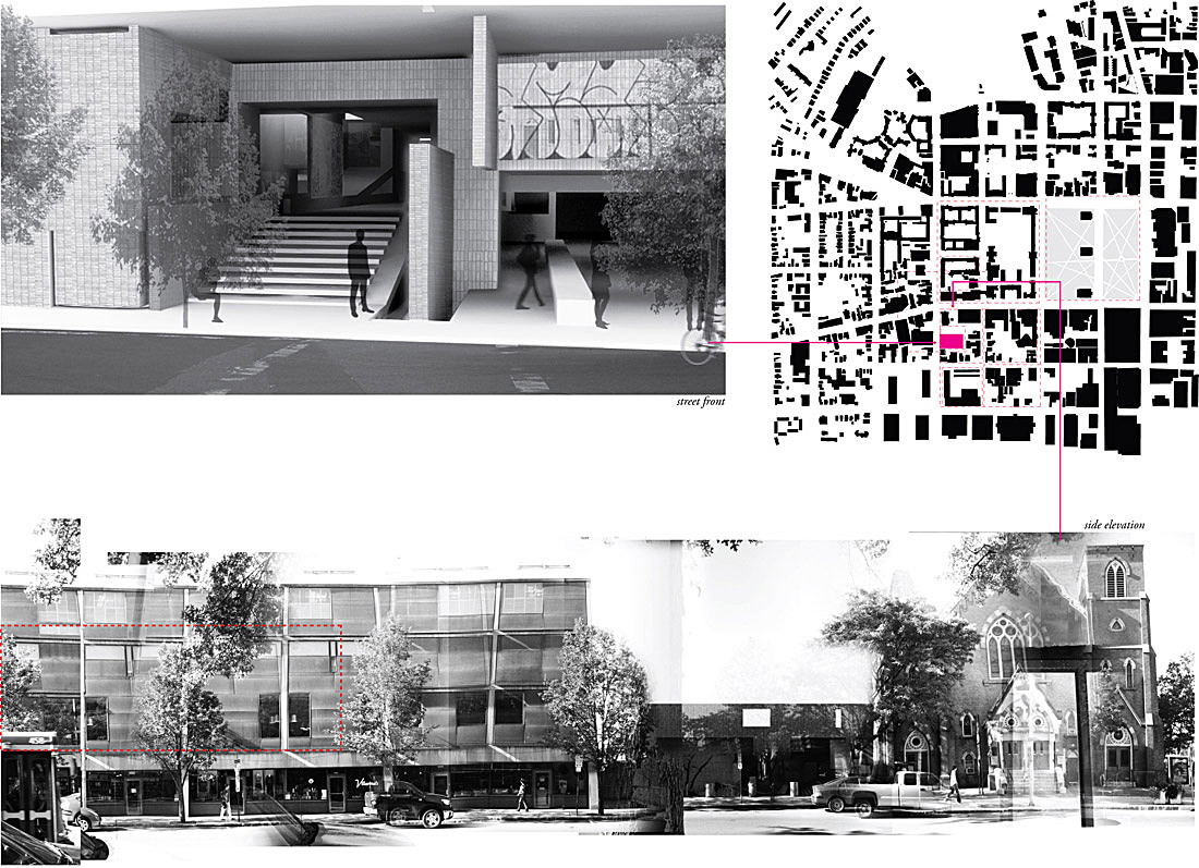 New Haven site plan, entry facade and view from Chapel Street