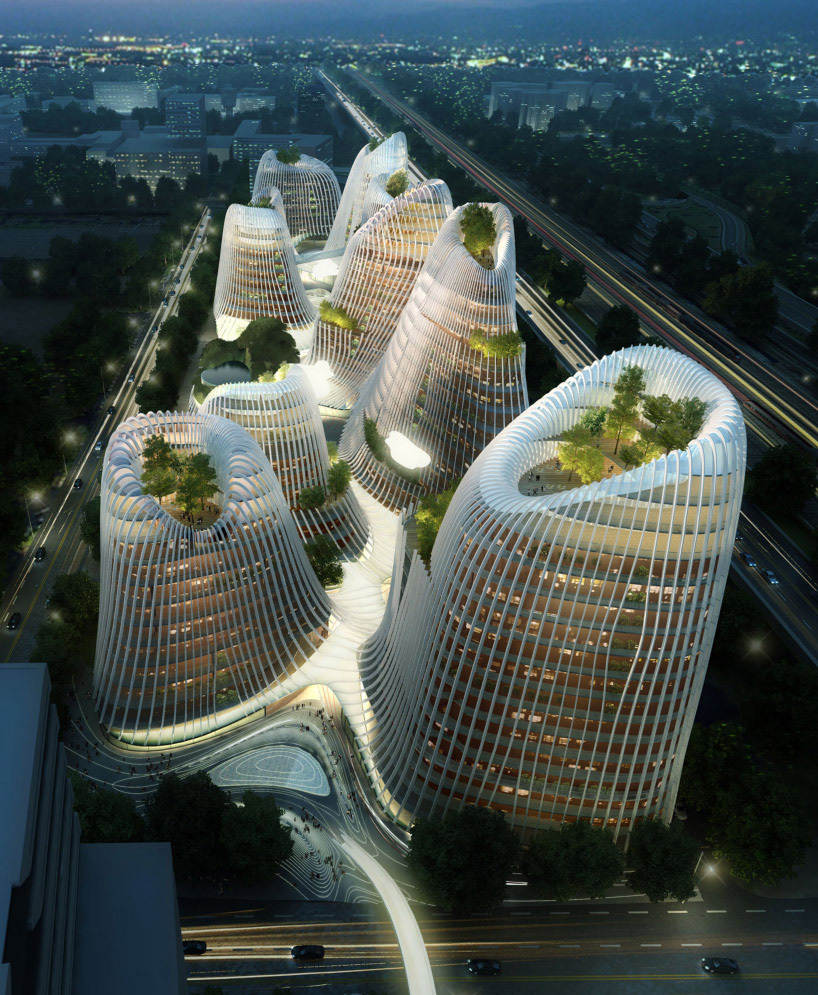 After sweeping architectural contests in Rome and Paris, Ma was invited to outline a master plan for a 200,000-square-meter commercial and retail project in Amsterdams Zuidas business district. He unveiled architectural drawings for structures that resemble a cluster of crater-tipped mountains. Echoing Taoist paintings of peaks and pagodas, its volcano-shaped towers will be linked with a meandering series of courtyards, waterways, and pavilions that organically unite the complex. (Caption...