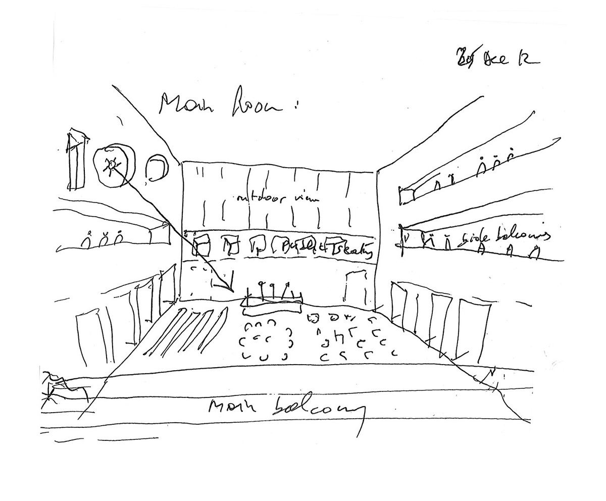 Bernard Tschumi Architects, ANIMA Cultural Center in Grottammare, Italy. The main room (sketch by Bernard Tschumi).