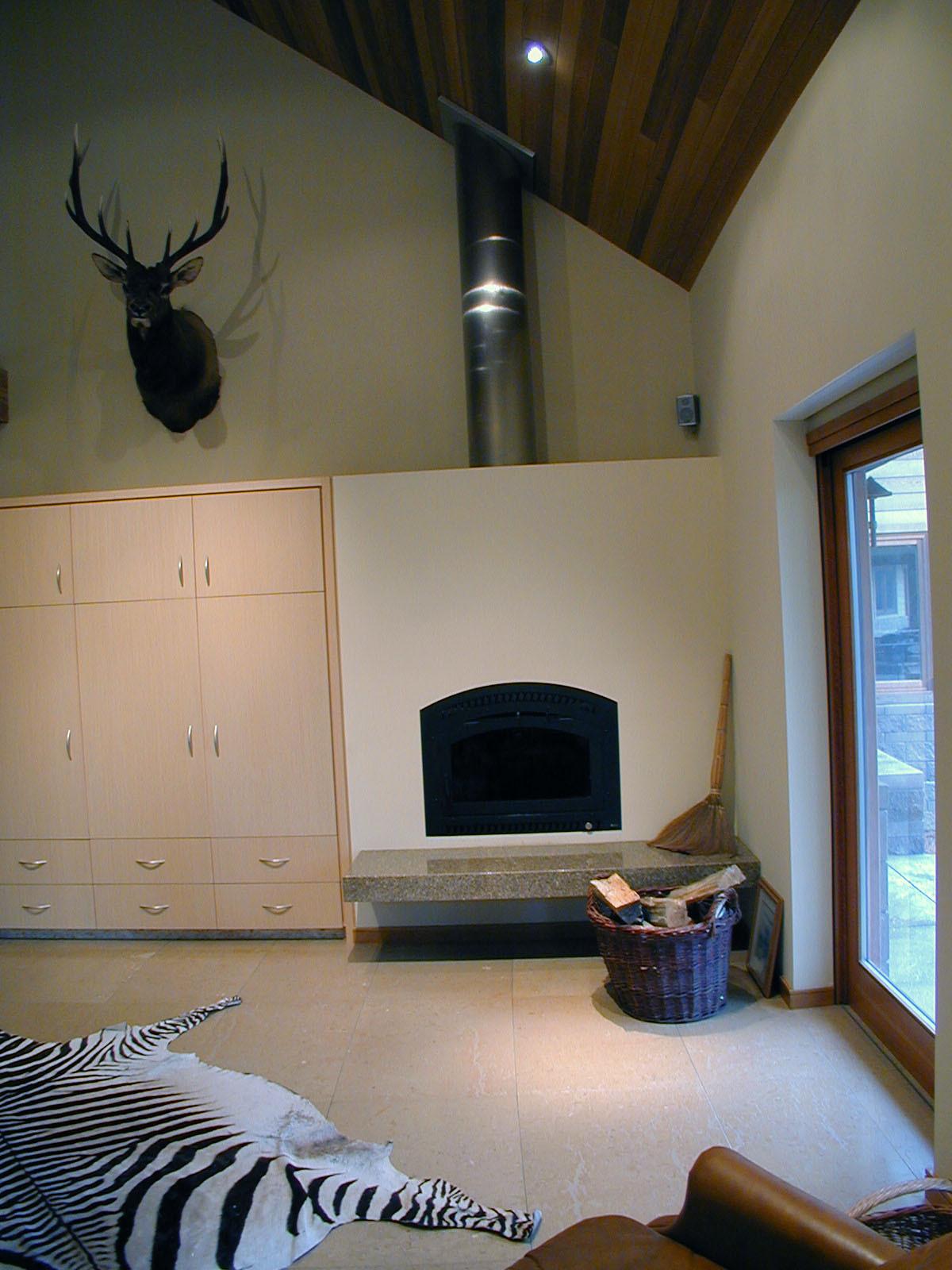 Interior Den Fireplace