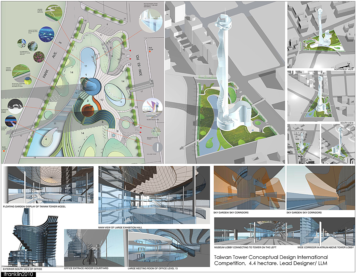 Taiwan Tower Conceptual Design International Competition, 4.4 hectare. Lead Designer/ LLM