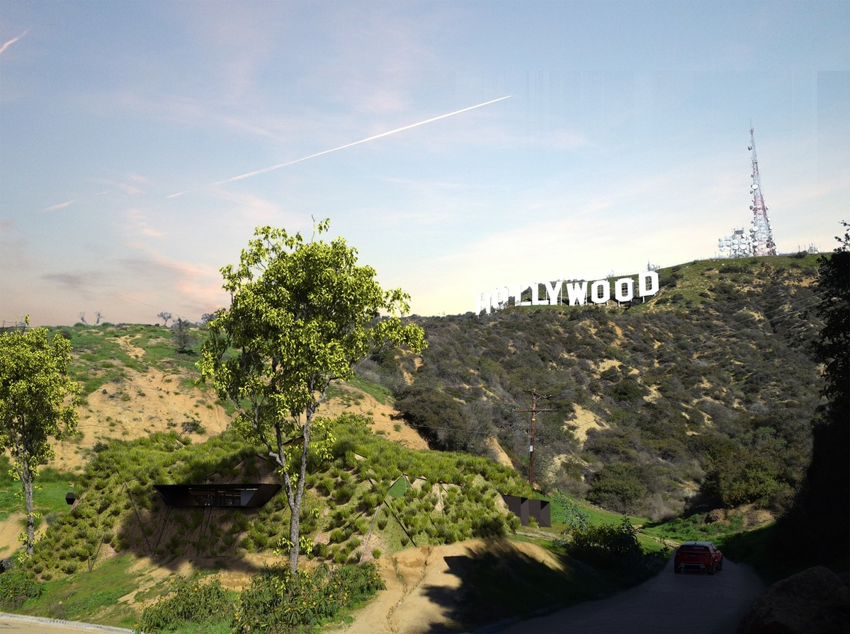 "Rendering of ""Hollywood Hill,"" the second place entry from FGO/Arquitectura. Image: FGO/Arquitectura"
