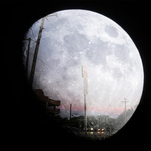 Double exposure: Dallas, Texas, and the moon. [Photo by oaphoto via Flickr]