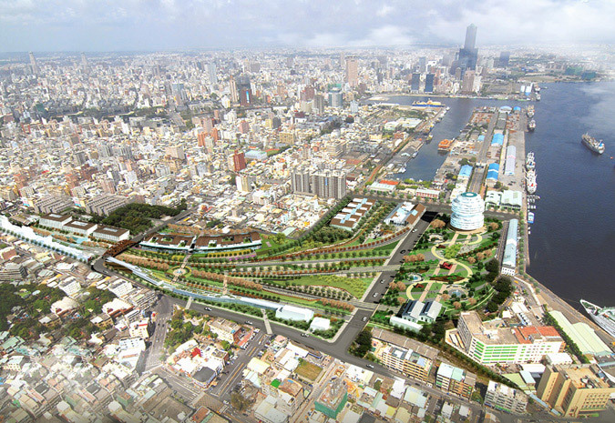 Aerial view of the competition-winning Kaohsiung Port Station concept by AGER Group (Image: AGER Group)