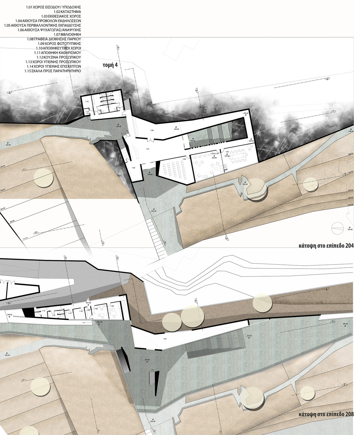 Plans of the ground floor (top) and first floor (bottom) of the Centre of Environmental Information.