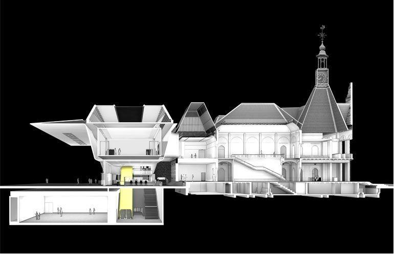 Benthem Crouwel Architects Stedelijk Museum addition (section)