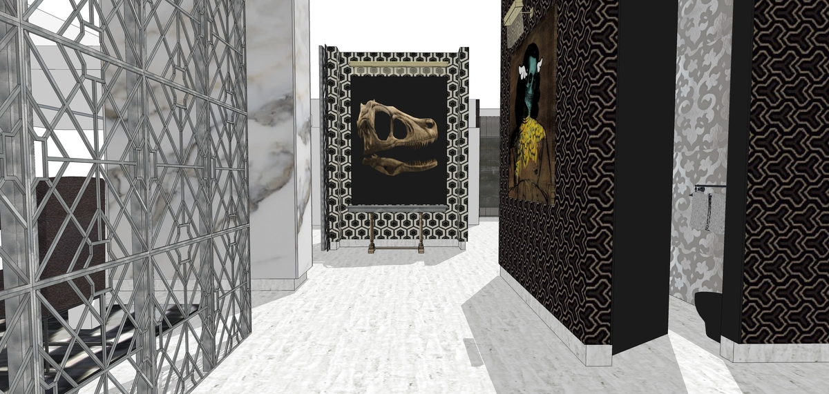 Penthouse Foyer: this space was designed to showcase the owner's art collection, including a T. Rex skull.