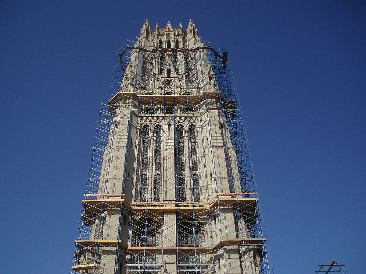Pipe scaffolding around spire