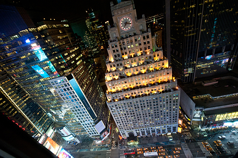 View from the 33rd floor of 1500 Broadway, Times Sq, NY (copyright Happy Famous Artists)