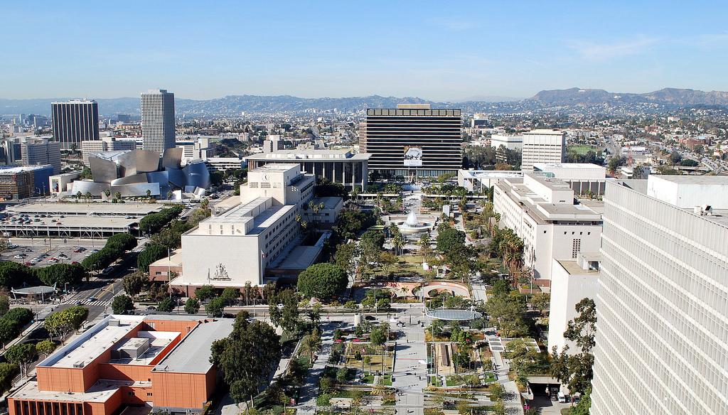 Grand Park from Los Angeles City Hall Observation Terrace, 12/30/13. Image via Joe Wolf's flickr.