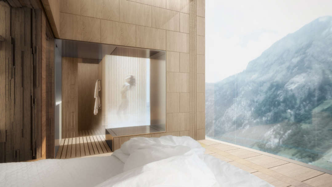 Rendering of the Vals Hotel. Image: Morphosis Architects.