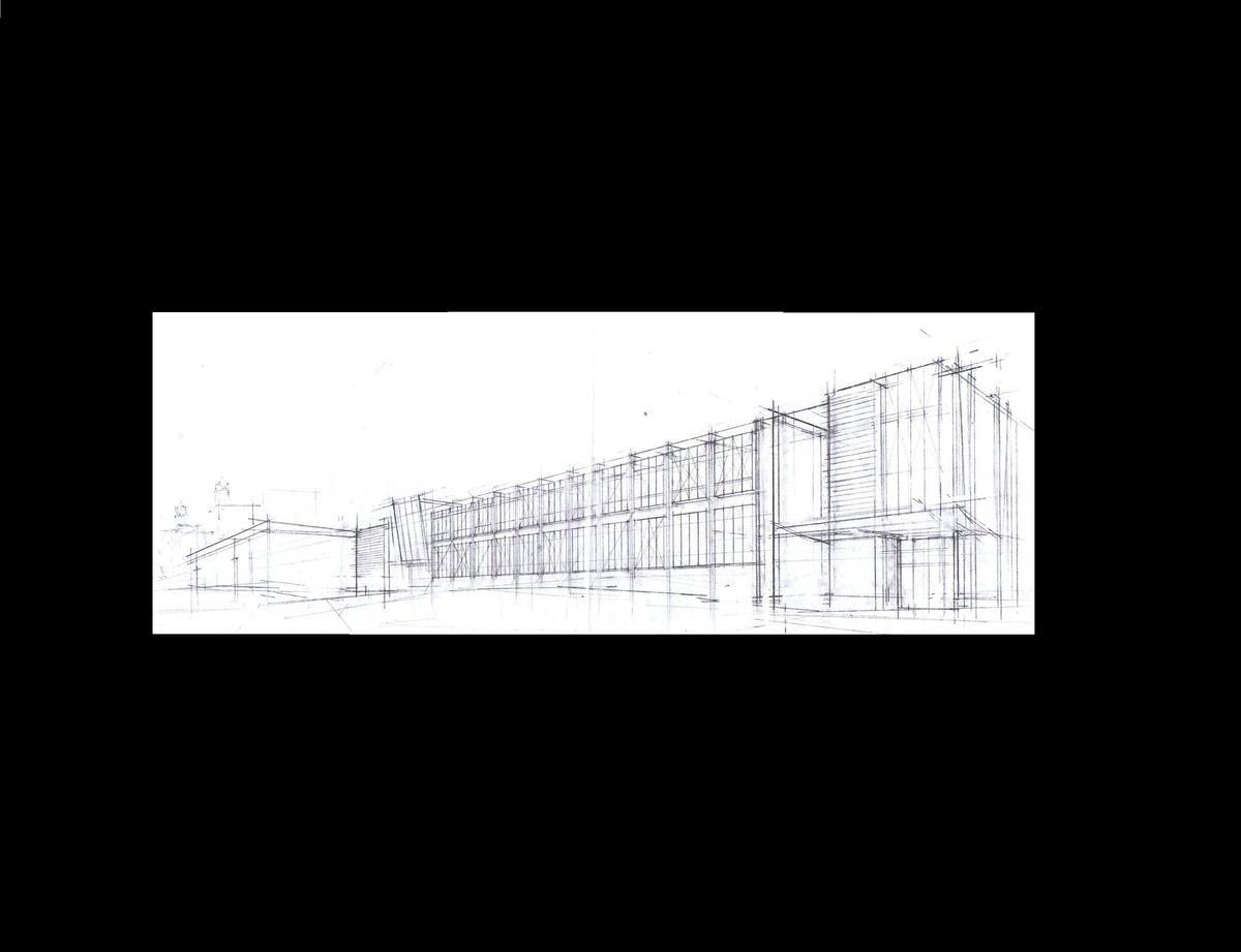 Perspective sketch of an exterior of the building