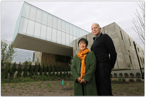 Billie Tsien, left, and Tod Williams are the architects for the new Barnes building on the Parkway. The light box atop the structure is cantilevered and covers the court between the Pavillion and the Collection Galleries by MICHAEL BRYANT