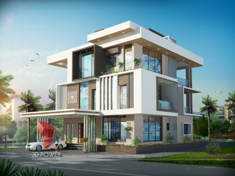 Ultra Modern Front Elevation : D ultra modern bungalow exterior day rendering and