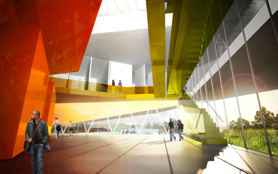 Finalist entry by Saucier + Perrotte, Architectes in the Verdun Cultural Center competition: entrance hall perspective (Image: Saucier + Perrotte, Architectes)