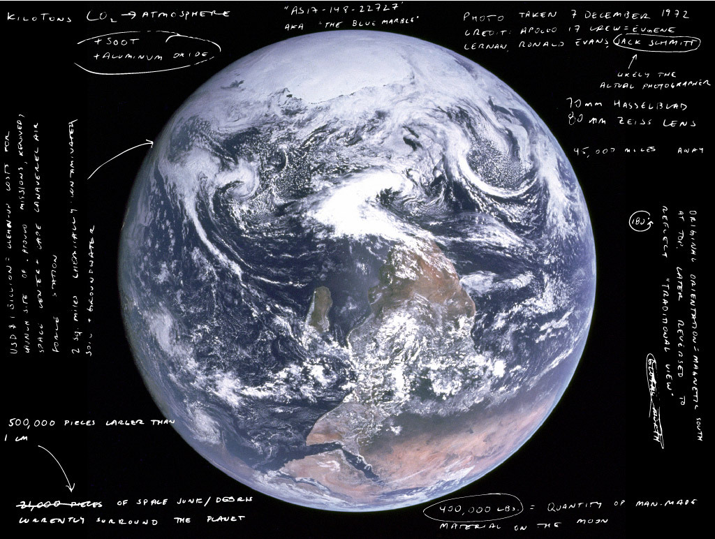 Incomplete annotation of the Blue Marble. Image by author.