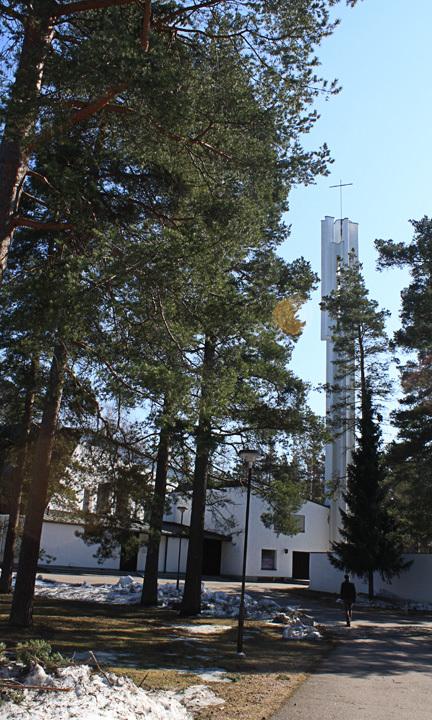 Belfry visible in the approach to Vuoksenniska Church (Church of 3 Crosses), Vuoksenniska, Finland 1958