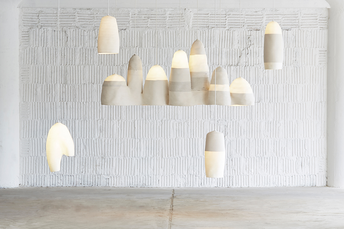 Light Sculptures stitched cotton and nylon rope with lighting components, 2013. Photo by Lauren Coleman