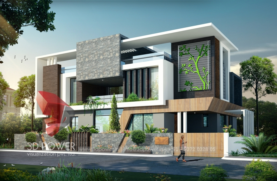 3d ultra modern bungalow exterior day rendering and for Modern day houses