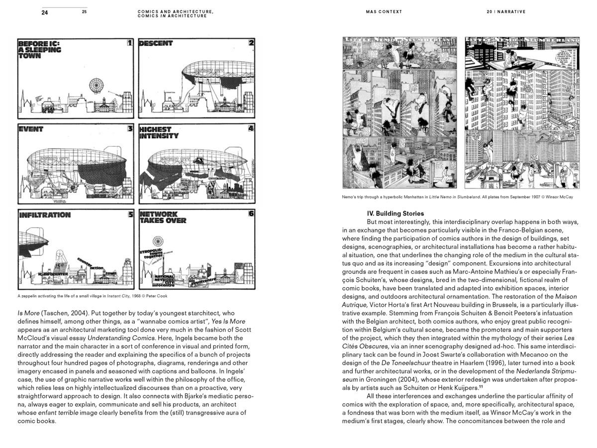 MAS Context Narrative. Comics and Architecture, Comics in Architecture (spread) © MAS Context