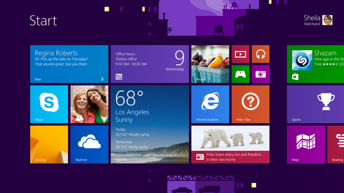The Start screen is the place where Windows apps are launched. The animated city background is an homage to Moneta's architecture days and time in New York.