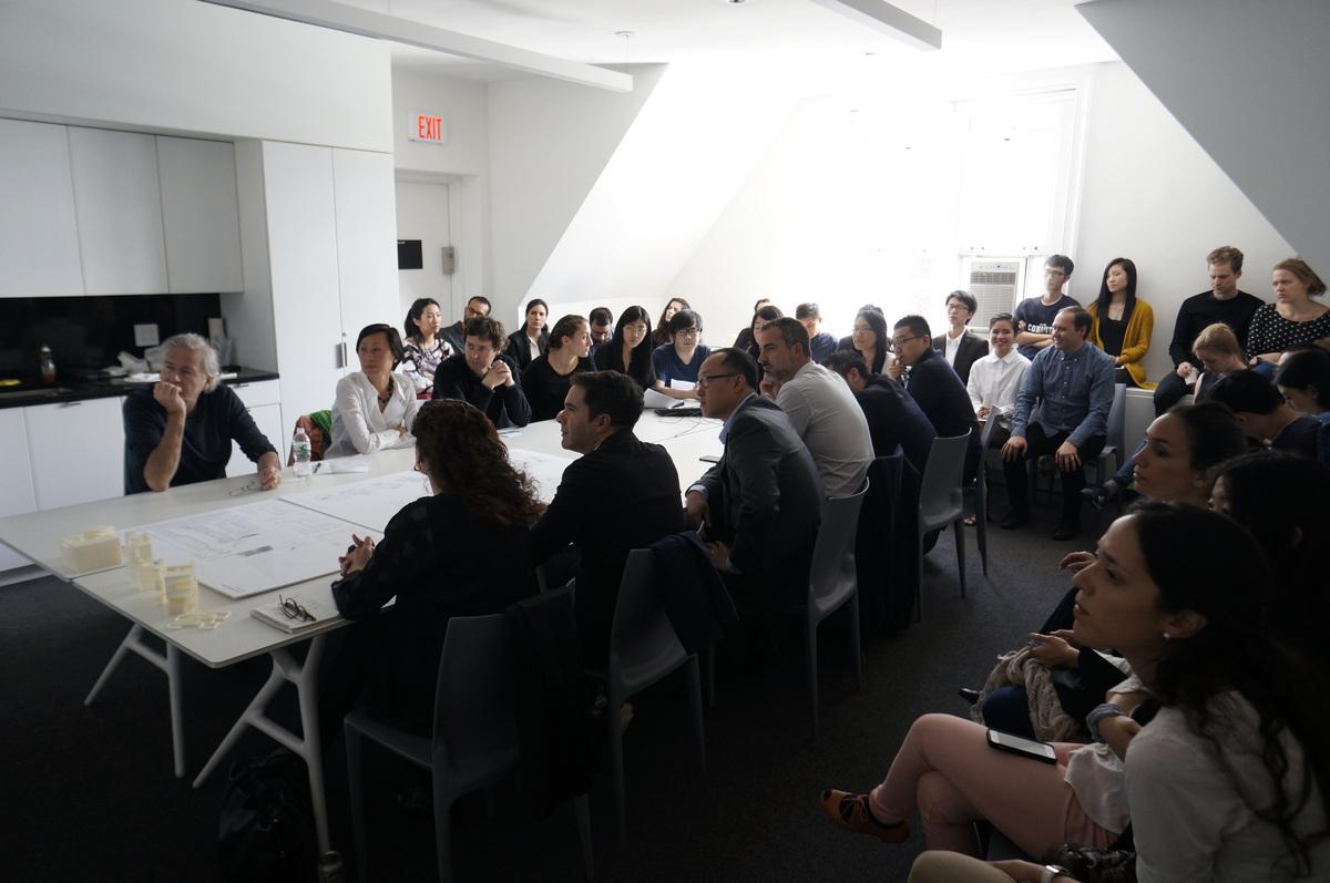 Enrique Walker Spring 2015 studio final review, with jury Bernard Tschumi, Mimi Hoang, Karla Rothstein, Andres Jaque, Phu Hoang, and Iñaki Carnicero. Photo courtesy of Columbia GSAPP.