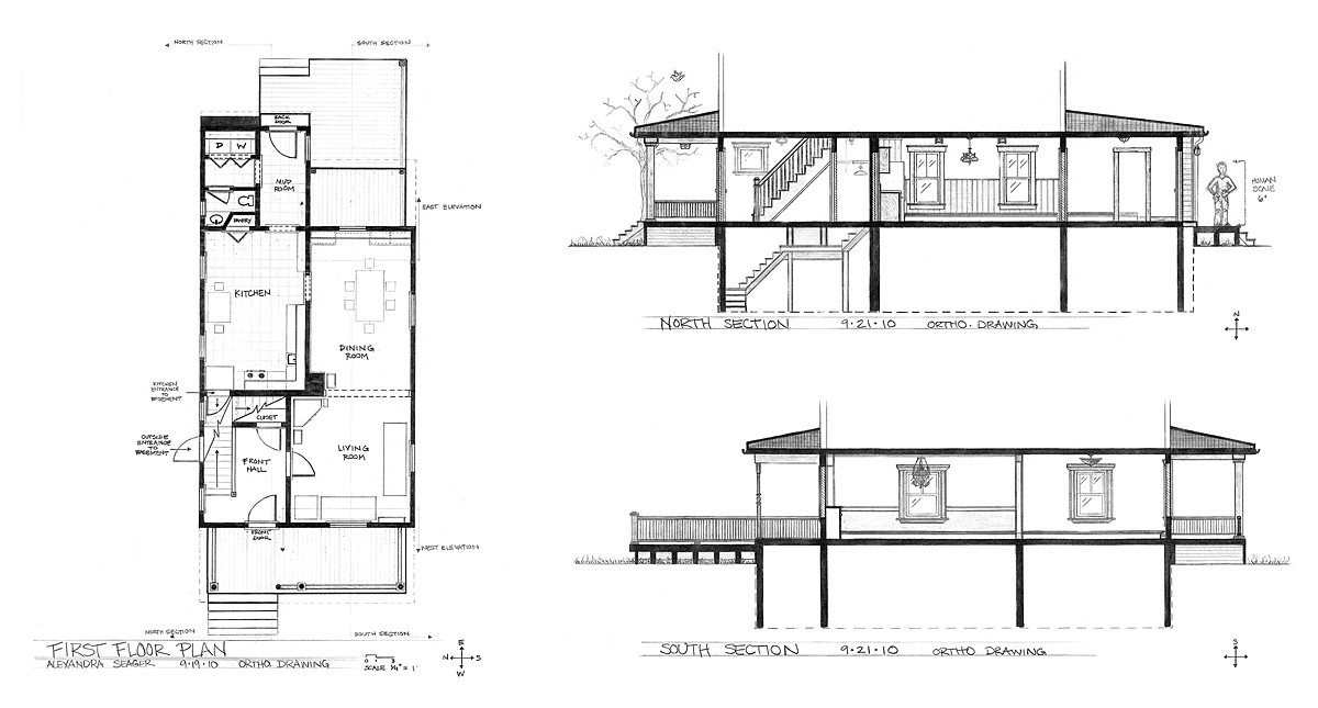 My house plan sections axon fall 2010 alexandra for Draw my house plans