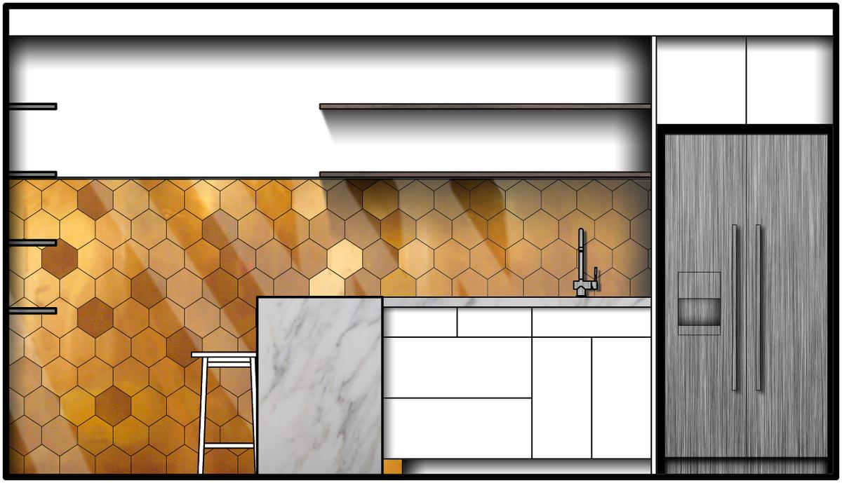 Elevation 3 - Staff Kitchen & Dining