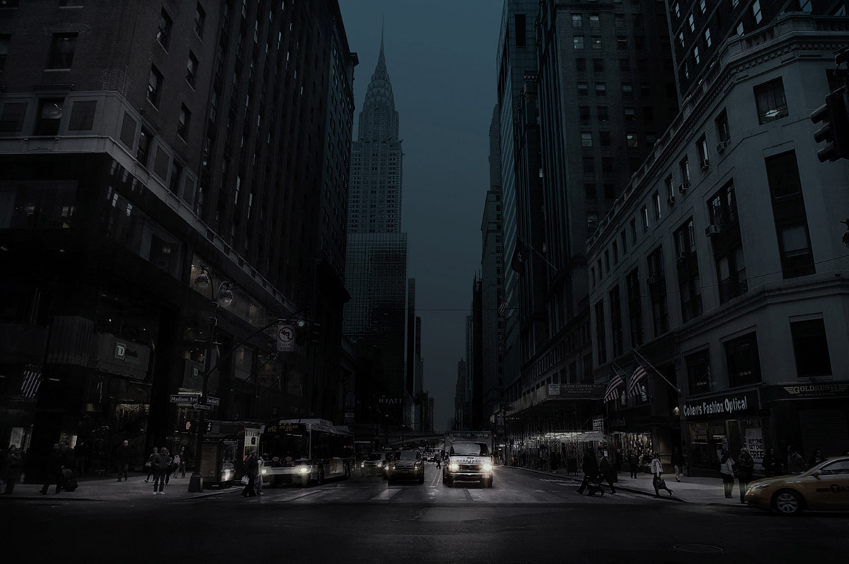 The dark night drew to a close (42nd Street and Madison Ave, New York 2010) © Simon Gardiner